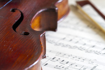 Violin and bow against music notes abstract background