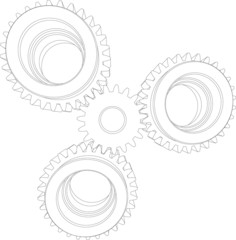 Four wire-frame gears. Front view. Vector illustration