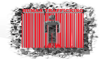 human trafficking text and barcode on low poly surface