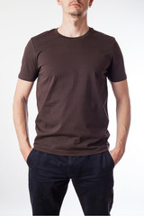 Brown t-shirt template ready for your graphic design.