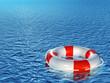 Lifebuoy, floating on sea