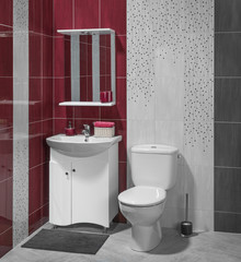 Beautiful interior of modern bathroom with sink and toilet