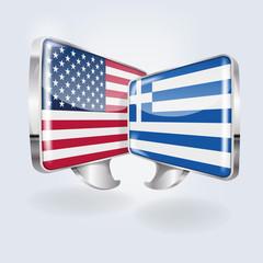 Sprechblasen in amerikanisch und griechisch