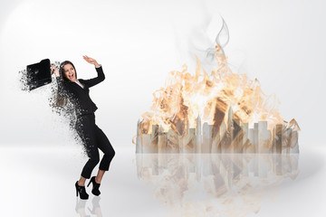 Image of businesswoman flying