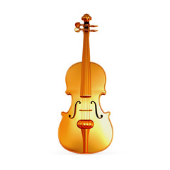 Traditional  golden violin  isolated  on white background.