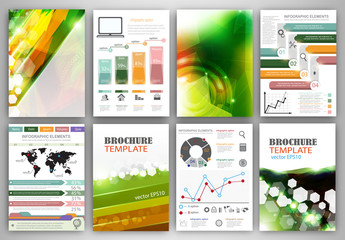 Vector infographic icons and green backgrounds