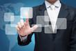 Businessman standing posture hand touching virtual screen