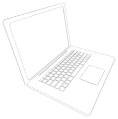 Drawing of wire-frame open laptop. Perspective view. Vector