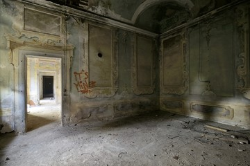 old abandoned frescoed room