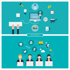Concept of social media network, project management, building