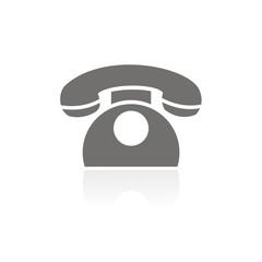 Icono teléfono clásico FB reflejo