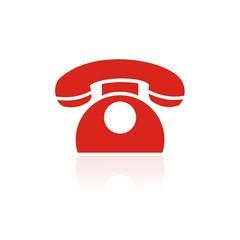 Icono teléfono clásico color FB reflejo