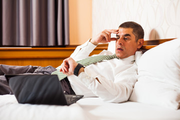 Businessman realizing that he is going to be late
