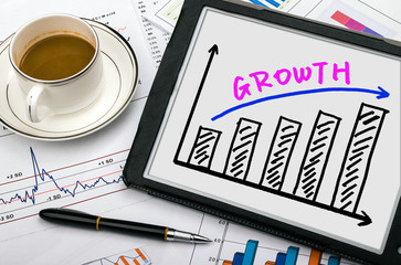 growth graph on tablet pc