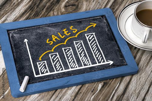 sales graph hand drawing on blackboard - 80442925