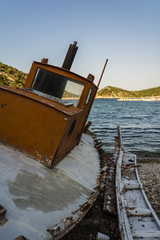 Abandoned Fishing Trawler on beach, Alonissos, Greece