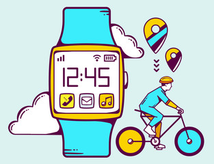 Vector illustration of blue smart watch with cyclist and cloud o