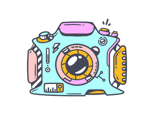 Vector linear illustration of blue photo camera on white backgro