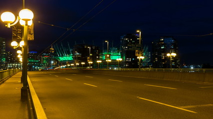 Time Lapse of Traffic Light Trails on Cambie Bridge Vancouver BC