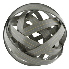 3d abstract sphere of tangled roads isolated on white background