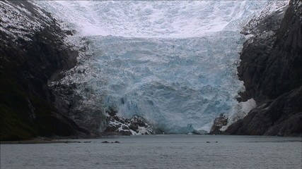 Melting Blue Ice Glacier in Beagle Channel, Chile