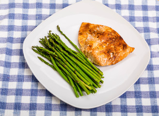 Broiled Salmon on Square Plate with Asparagus
