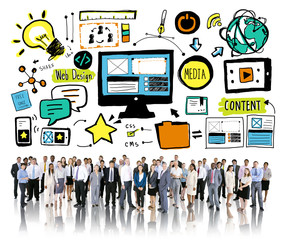 Business People Web Design Content Aspiration Team Concept
