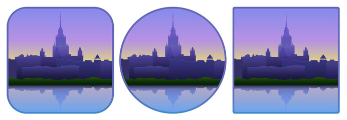 Vector illustration. Computer icon with a view of the city