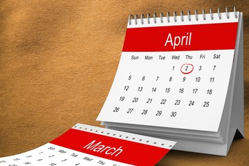 Composite image of april calendar