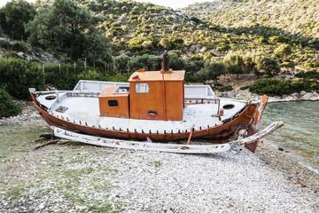 Abandoned Fishing Trawler on beach, Alonissos, Greece
