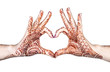Heart gesture with henna