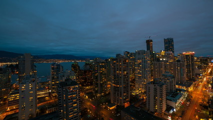 Time Lapse of Traffic Light Trails and Clouds in Vancouver BC