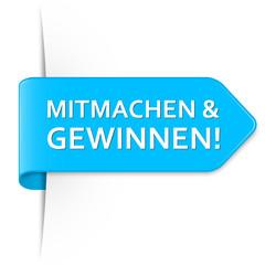Langer hellblauer Sticker Pfeil - Mitmachen & Gewinnen!