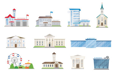 Public city buildings vector set