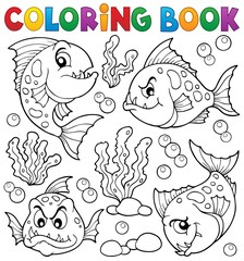 Coloring book piranha fishes theme 1