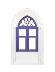 Blue classic window frame isolated