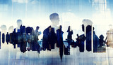 Business People Silhouette Working Cityscape Teamwork Concept - Fine Art prints