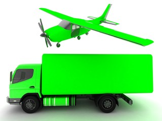 truck and airplane
