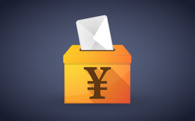 Ballot box with a vote and a yen sign