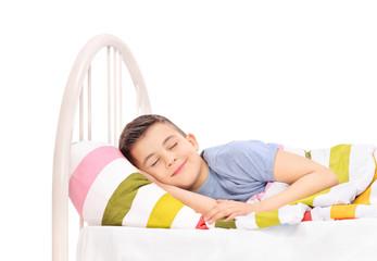 Cheerful boy sleeping in a comfortable bed