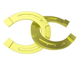 Metal, gold horseshoe isolated on white background.