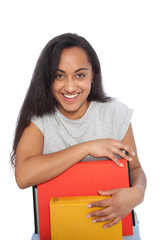 Close up Happy Young Woman Leaning on her Books