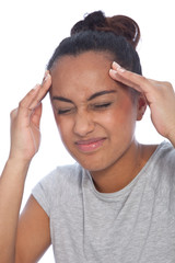 Close up Young Woman Suffering From Migraine