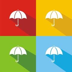 Iconos paraguas colores sombra