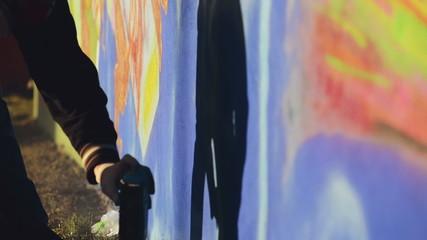 Graffiti Artist Paint Spraying the Wall, Urban Street Art
