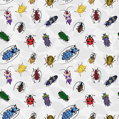Seamless pattern with colorful bugs.