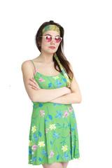 Woman in Floral Green Fashion Crossing her Arms