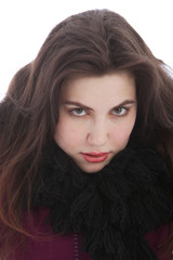Seductive Woman in Winter Outfit Looking at Camera