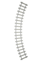 Curved railway isolated on white background, top view