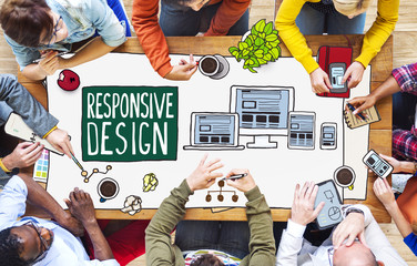 Diverse People Working Responsive Design Concept